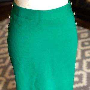 Limited Kelly Green Pencil Skirt w/ Brass Buttons